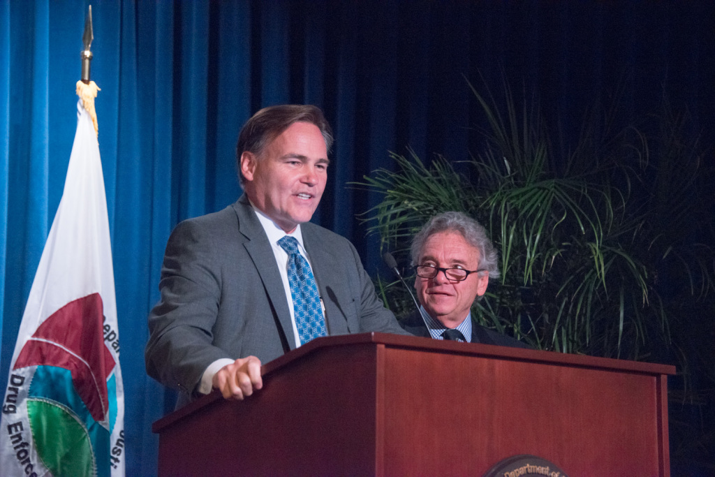 30 Year of Service Award to the DEA Presented to Dr Gold by Tom Harrigan , DEA